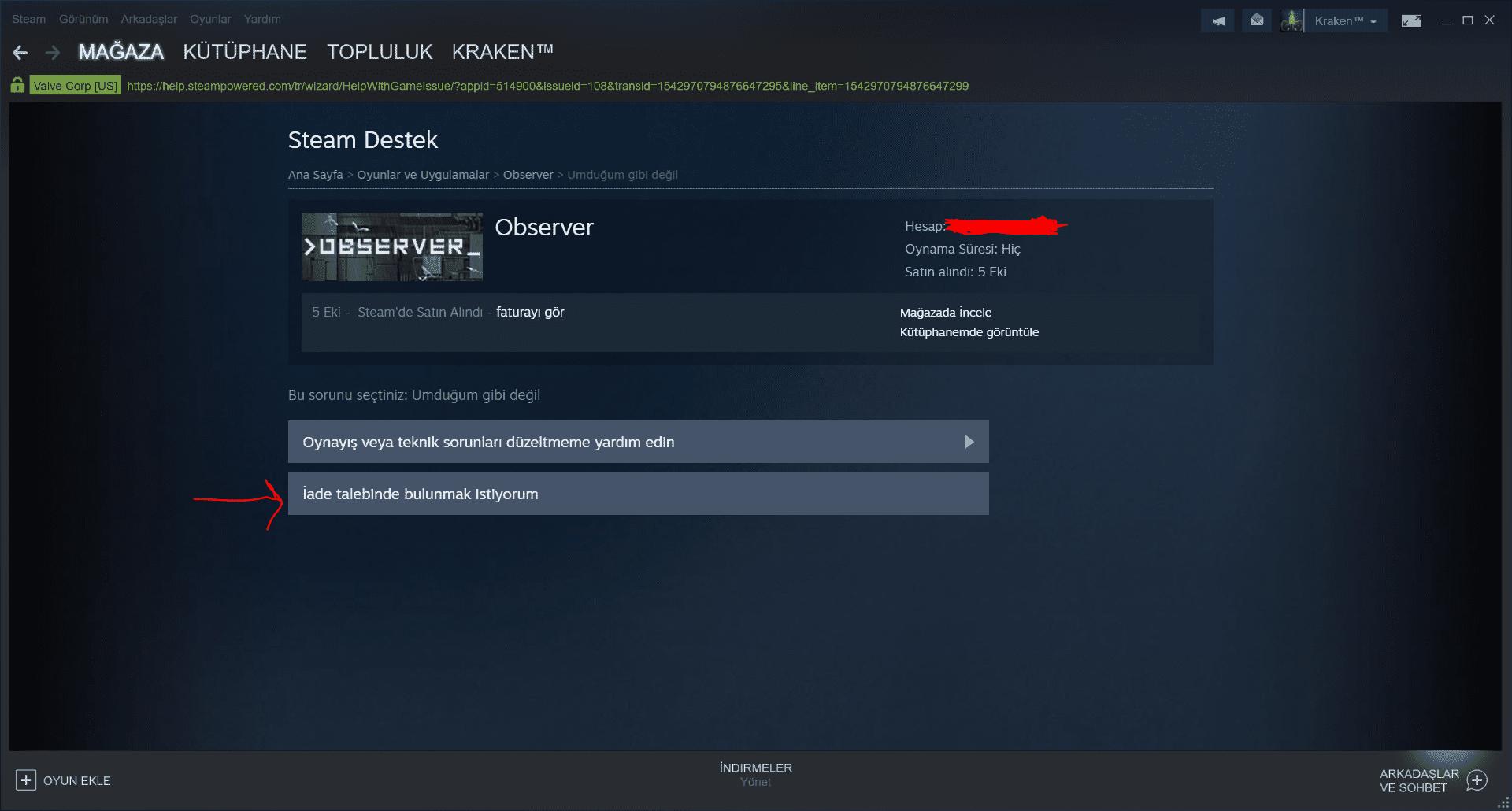 Steam oyun iade etme