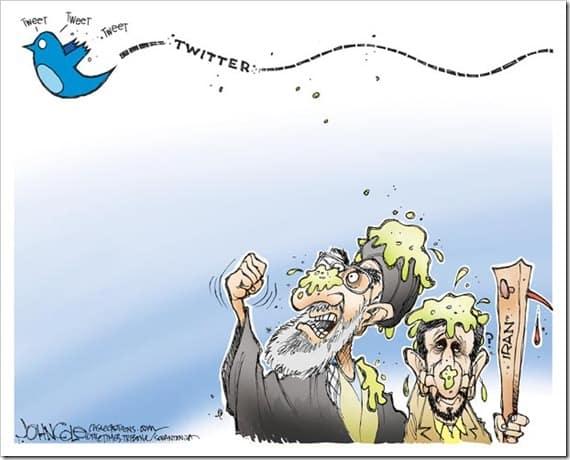 İran'daki sosyal medya yasaklarını eleştiren bir karikatür, John Cole.
