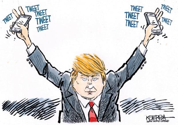 Donald Trump'ın Twitter ile ilişkisini konu alan bir karikatür, Jeff Koterba.
