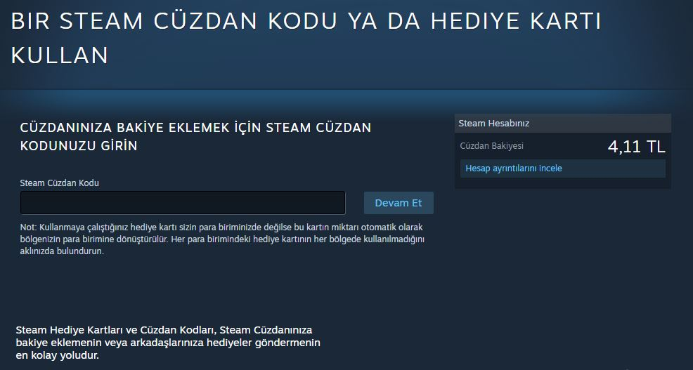 steam cüzdan kodu nasıl eklenir